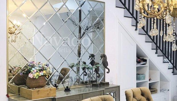 Xu hướng trang trí gương ghép tường phòng khách decor