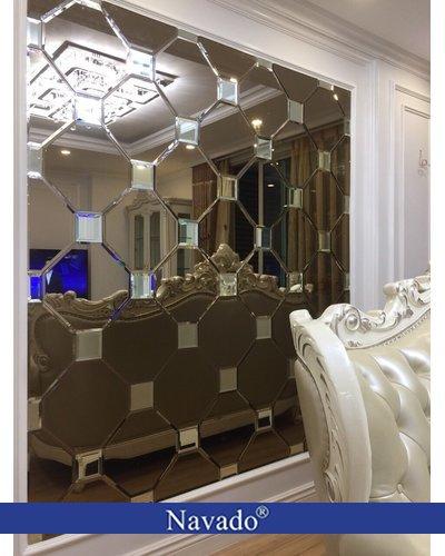 Gương ghép tường nghệ thuật sofa phòng khách
