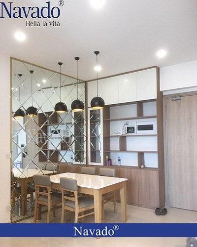 Gương ghép tường trang trí phòng khách cao cấp