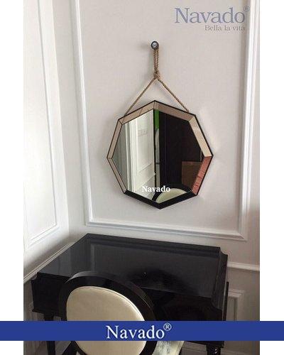 Gương bàn phấn treo tường bát giác
