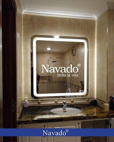 Gương phòng tắm đèn led bo góc Hà Nội