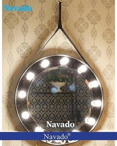 Gương bàn trang điểm dây da đèn nổi