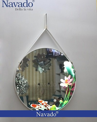 Gương dây da khắc 3D đèn led