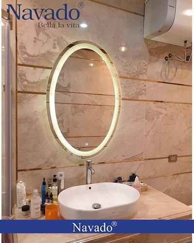 Gương Elip phòng tắm đèn led cảm ứng