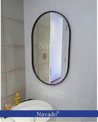 Gương vành thép phòng tắm bo hai đầu