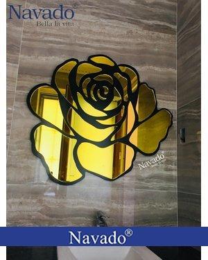 Gương trường phòng khách hoa hồng vàng Rose