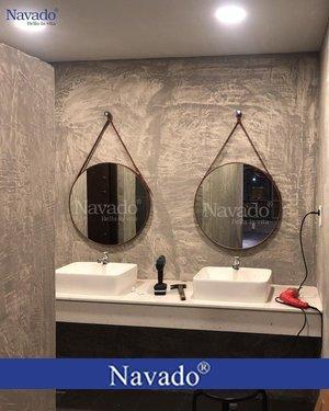 Gương tròn dây da treo phòng tắm 60cm