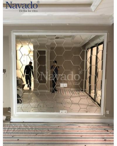 Gương ghép tường lục giác phòng khách