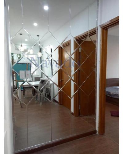 Gương ghép tường bàn ăn phòng khách