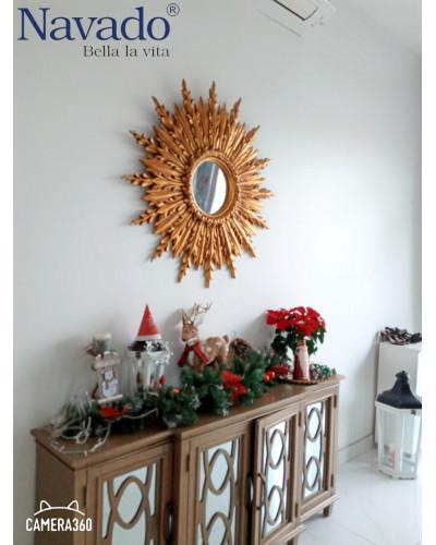 Gương tân cổ điển trang trí decor màu vàng Graces