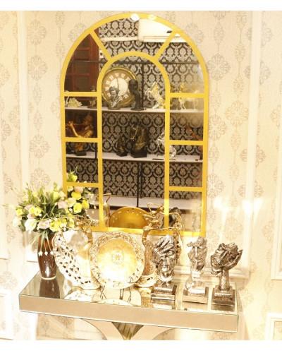 Gương decor cửa sổ màu vàng trang trí phòng khách Window