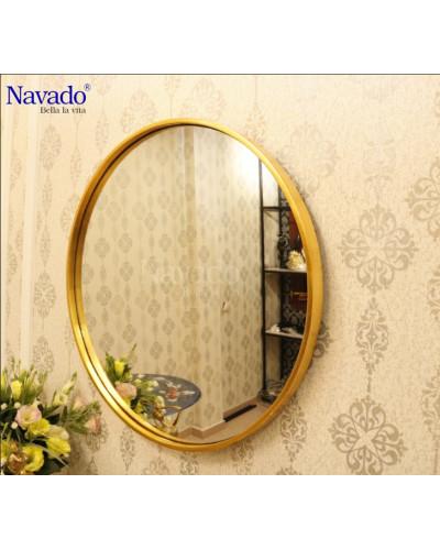 Gương khung tròn decor màu vàng treo tường nghệ thuật Oras