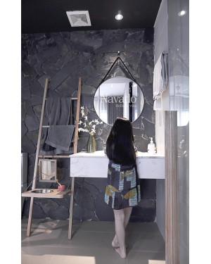 Gương tròn dây da treo decor  tường phòng tắm