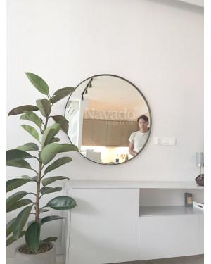 Gương treo tường phòng khách vành thép mạ 80cm