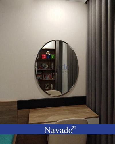 Gương trang điểm elip mài vát 50 x 70 cm