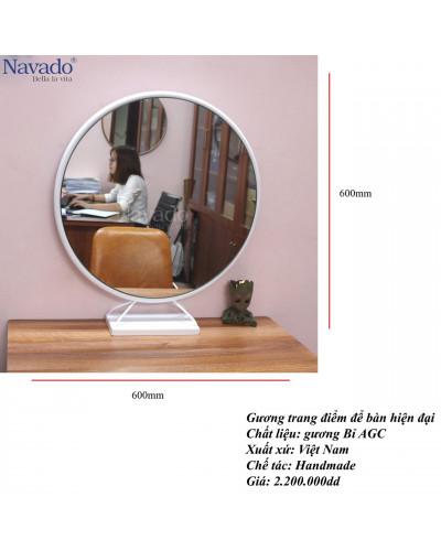 Gương trang điểm để bàn khung màu trắng 50cm