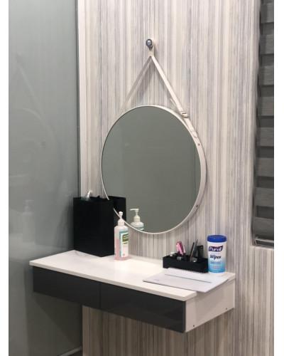 Gương trang điểm decor dây da trắng 50cm