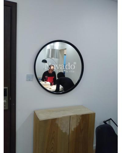 Gương khung trang điểm để bàn màu đen phi 60cm