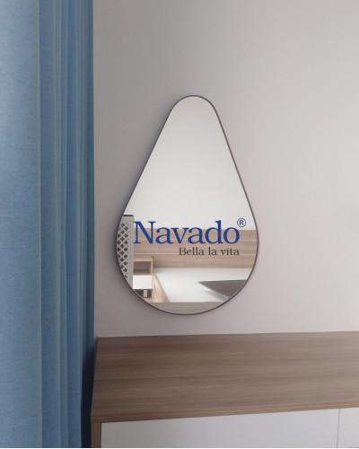 Gương trang điểm nghệ thuật bọc da Giọt Nước