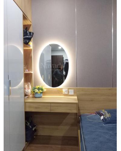 Sản xuất gương trang điểm elip đèn led 50 x 70cm
