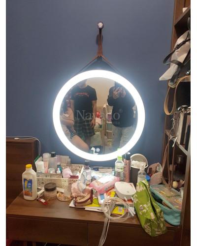 Gương trang điểm treo dây có đèn led phi 50cm