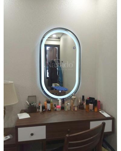 Gương bọc da đèn led cảm ứng