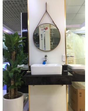 Gương tròn treo dây da trang trí phòng khách 50cm
