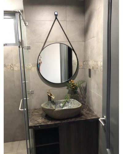 Gương phòng tắm dây da đen