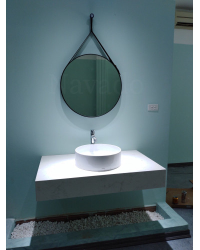 Gương tròn dây da treo nhà tắm 50cm