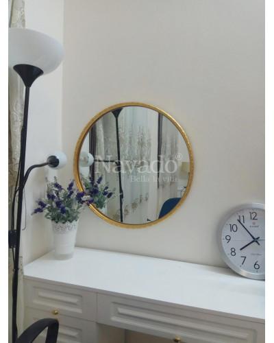 Gương trang điểm khung tròn màu vàng Oras