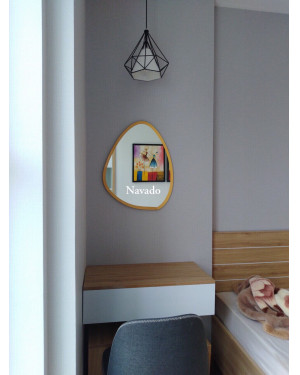 Gương trang điểm decor hình viên đá